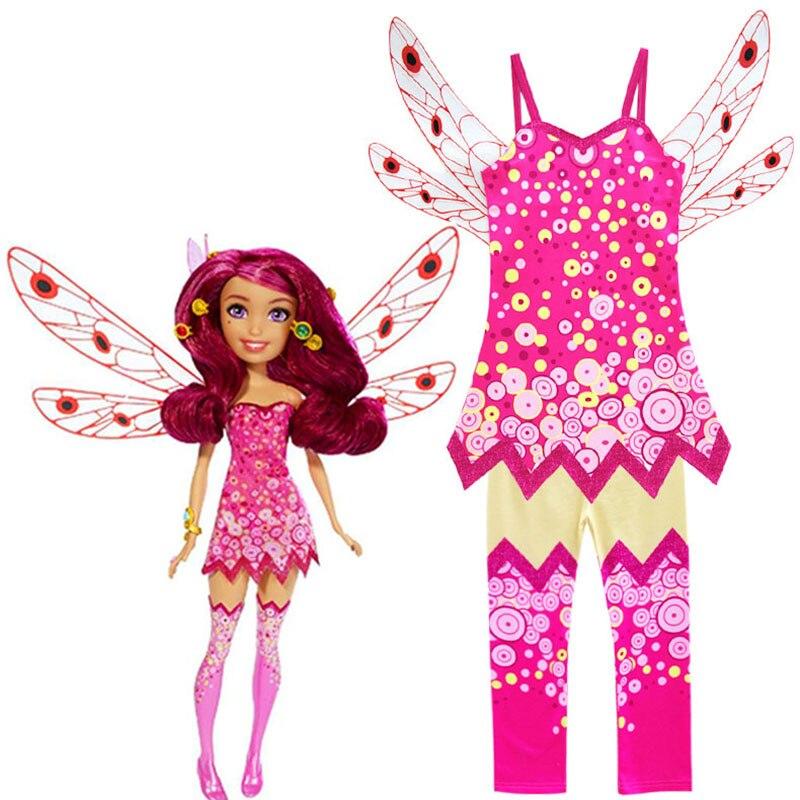Cartoon MIA cosplay costumes Girl Vest Wing Top + Pants Suit pink Dress mia Mia's Elven Kingdom kids Party