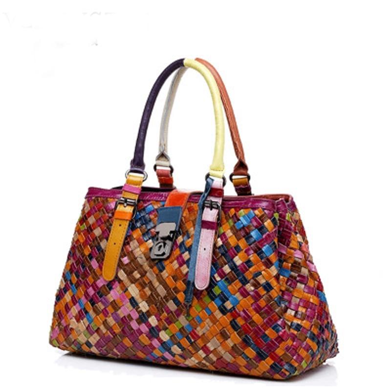 Genuine Leather Handbag Hand Woven Panelled Shoulder Bags For Women Luxury Designer Tote Bag Bolsos Mujer De Marca Famosa 2019