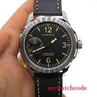 44 мм Парнис orange знаков черный циферблат сапфировое стекло 6497 Рука обмотки Мужские часы