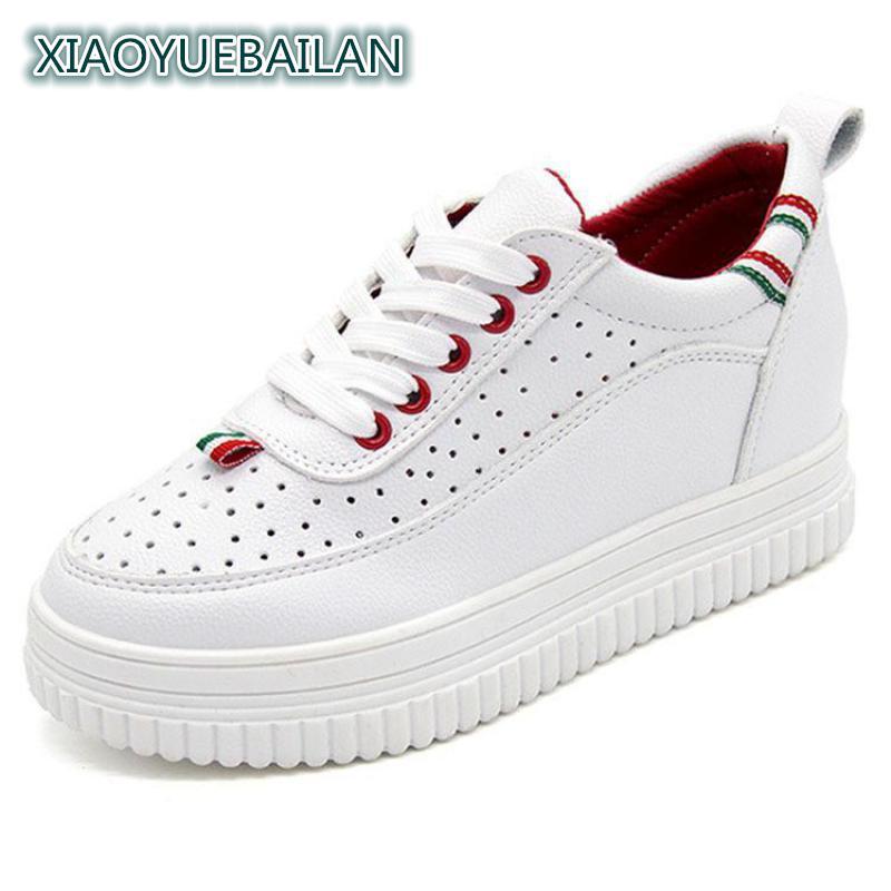 2017 chaussures de loisir à la mode, petit blanc femmes trous d'air, avant dentelle, bas, couleur ronde, tête,