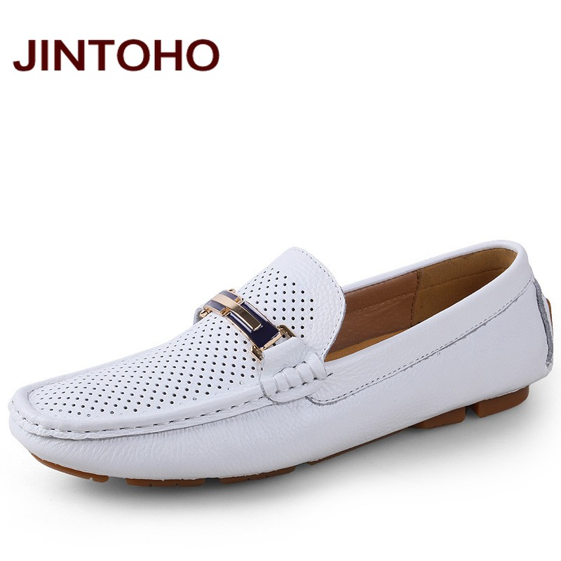 JINTOHO big size 35-46 genuine leather casual male shoes luxury brand glitter mocassines loafers italian shoes mocassin homme ...
