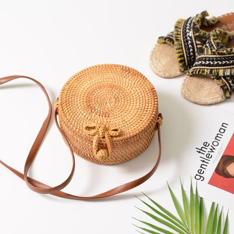 Paja ronda para las mujeres verano playa hombro ratán tejido a mano Crossbody bolsa círculo Bohemia bowknot bolsos Bali