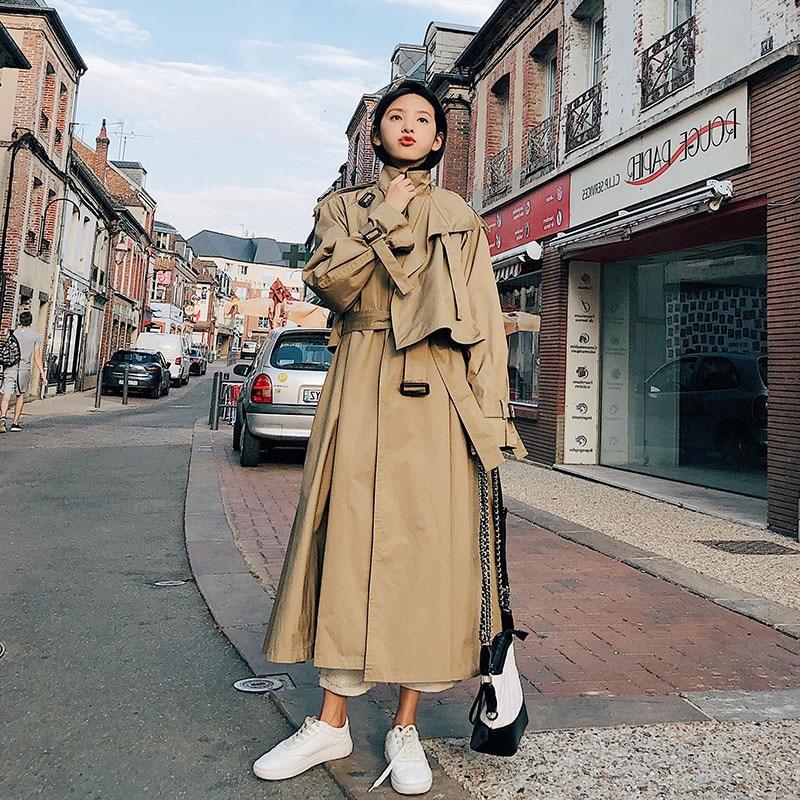SuperAen سترة واقية الإناث 2019 الربيع والخريف جديد الكورية نمط خندق معطف للنساء القطن البرية النساء الملابس-في معطف مبطن من ملابس نسائية على  مجموعة 1