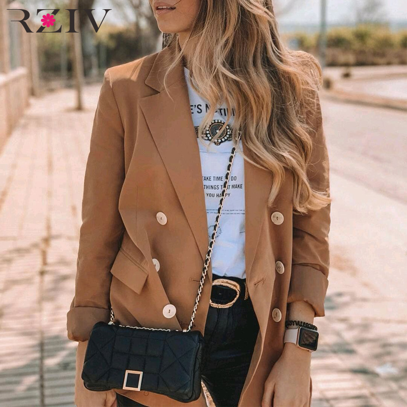 RZIV Spring Women's Blazer Jacket Double-breasted Suit Solid Color Casual Long Sleeve Women Suit Jacket