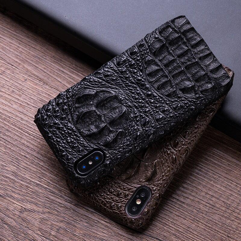 Pour iphone x xr xs max 7 8 plus étui de couverture arrière de téléphone 3D peau de vache imitation crocodile téléphone coque semi-enveloppée à la main