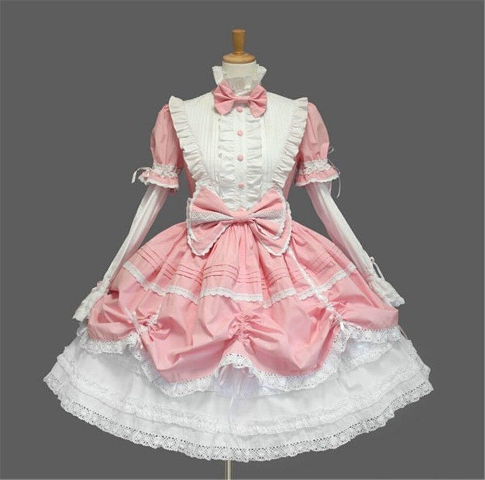 Cosplay Lolita robe lapin mignon japonais Kawaii filles princesse femme de chambre Vintage gothique imprimé motifs dentelle été jupe