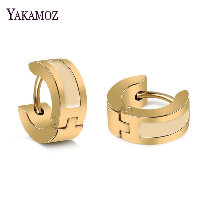 YAKAMOZ Fashion Stud Earrings Titanium Steel Round Stud Earring for Men Women Punk Style Male Circle Earring Brincos Top Quality