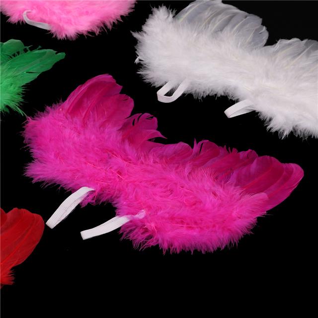 Hot Sale Stylish Newborn Baby Kids Feather Lace Headband & Angel Wings Flowers Photo Prop