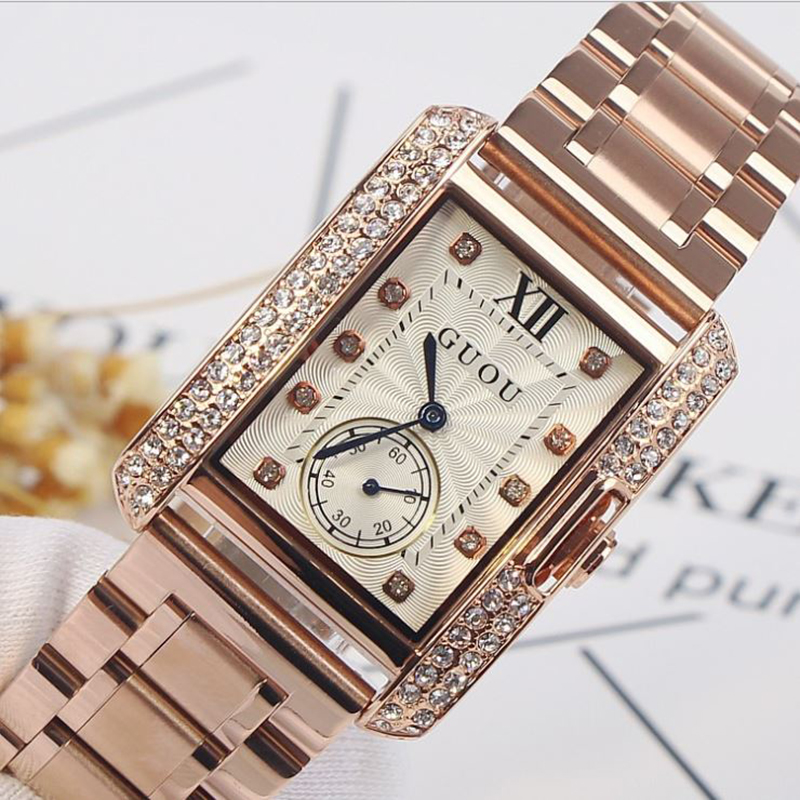 Fashion GUOU Women's Watches Luxury Ladies Watch Diamond Watch Rose Gold Bracelet Women Watches Clock relogio feminino saat weiqin real ceramic women watch brand luxury diamond fashion watches ladies rose gold wrist watch quartz hours relogios feminino