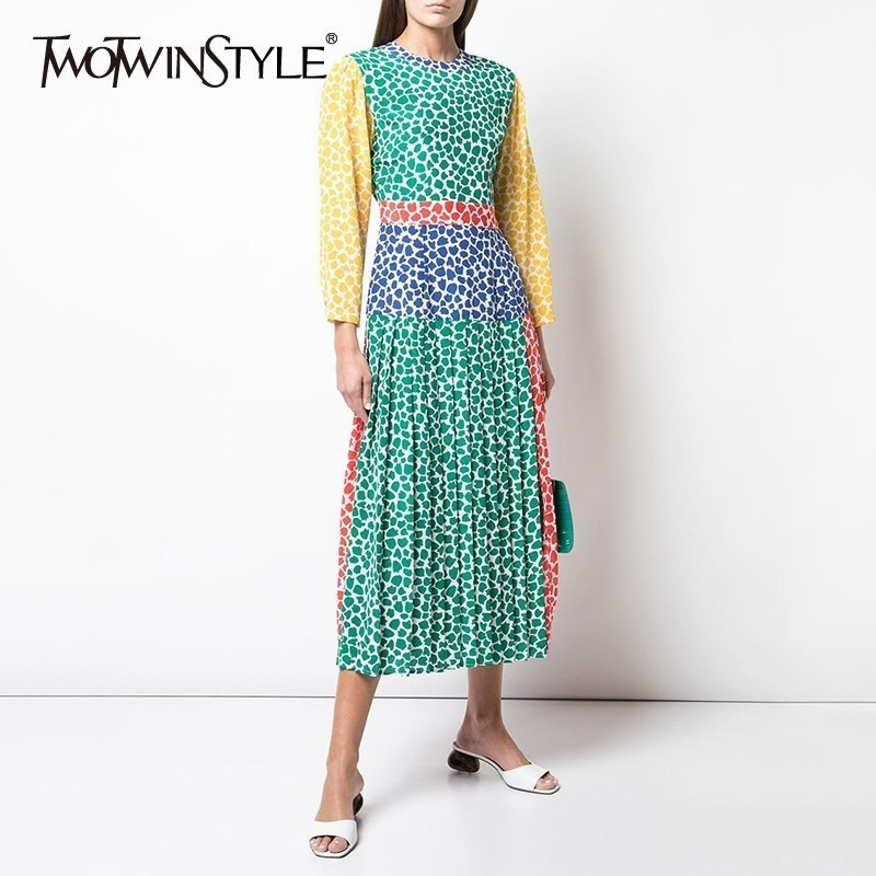 TWOTWINSTYLE Summer Hit Color Patchwork Women's Dress O Neck Long Sleeve High Waist Midi Pleated Female Dresses Fashion New 2019