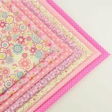 Booksew Cotton Fabric Mix 7 Pieces/lot Plain Fat Quarters Bundle for Dolls Patchwork Pink Color Scrapbooking Sewing Toys