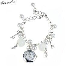 Women Clock Quartz Charms Bracelet Wrist Watches Girl Wristwatch Fashion Gift wholesale