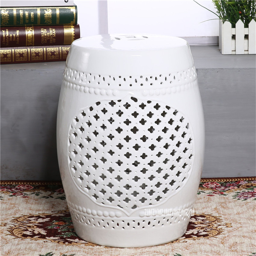 Modern Simple Style 45cm Height Hollow Ceramic Low Drum Stool Change Shoes Chinese Ceramic Home Decor Living Room Makeup Stool fashion ceramic drum stool dressing stool change a shoe stool fashion home accessories decoration housewarming gift