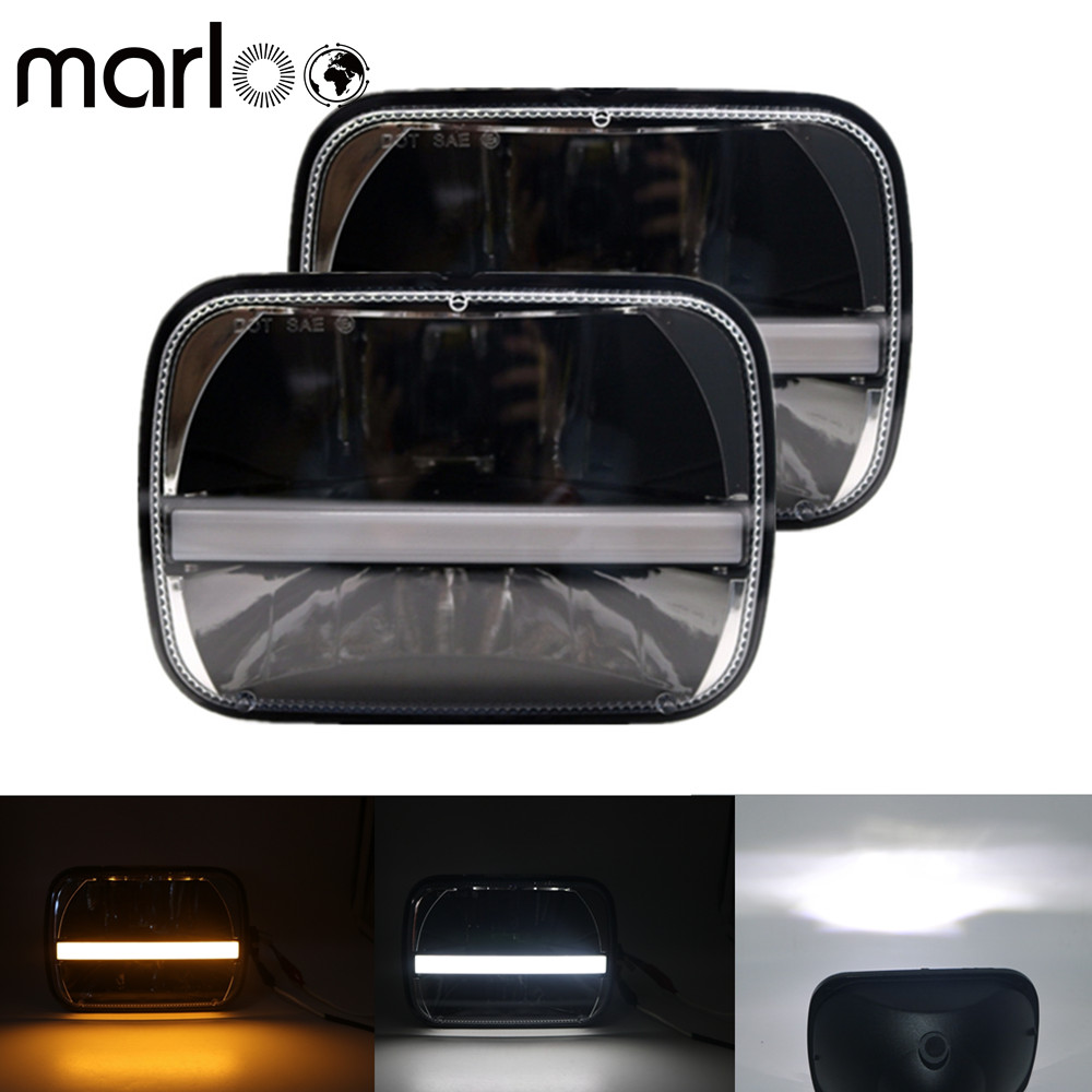 Marloo 5X7 Projector 7X6 LED Headlight DRL Amber Signal Light Sealed Beam Truck Headlamp For Jeep Cherokee XJ Nissan Motorcycle 5x7 inch 40w h4 led replacement for sealed beam with white drl amber turn signal 7x6 inch headlamp for truck fld 50 60 70 80