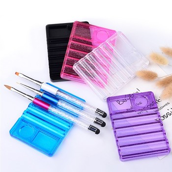 1Pcs Nail Art Painting Pen Brush Stand Rack Plastic Brush Holder for DIY Manicure Nails Carving Drawing Pencils Brushes 5 Colors