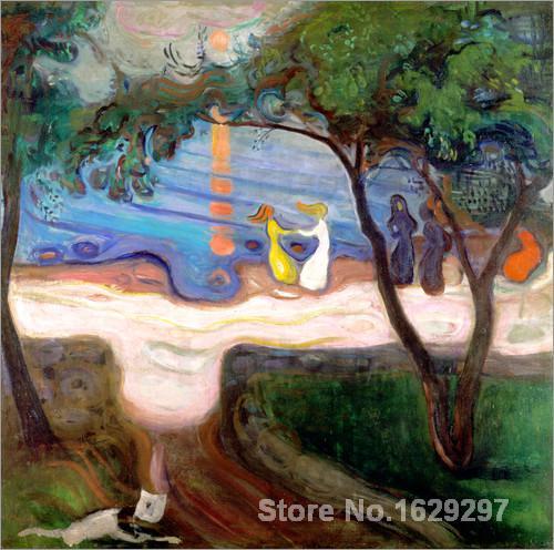 modern colorful paintings Tanz am Meeresstrand. by Edvard Munch High Quality Hand paintedmodern colorful paintings Tanz am Meeresstrand. by Edvard Munch High Quality Hand painted