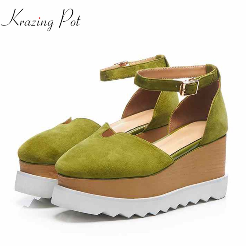 Krazing Pot new sheep suede flock summer thick bottom high heels shoes women mustard green color leisure buckle straps pumps L18 krazing pot 2018 new arrival sheep suede thick med heels women hollow decoration pumps buckle poined toe model runway mules l61