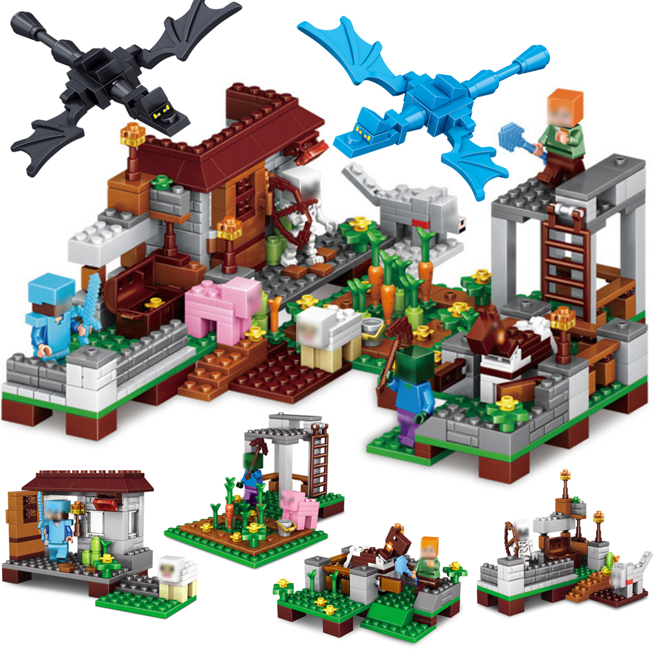 390pcs My World Steve Village castle figures building blocks set compatible with legoes minecrafted bricks toys for children lepin minecraft 504pcs the forest secret my world figures building blocks bricks fun castle house toys for children gifts