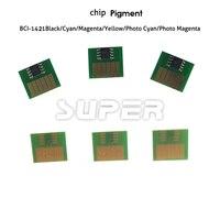 Chips de tinta Para Canon BCI-1421 Compatible chips para Canon W8200 W8400 Pigmento de inyección de tinta de impresora 6 unids una vez chips