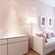 Non-woven Embossed Flocking Wallpaper Vintage Girl Room Background Wallpaper Roll Kids Wall Covering Paper WP16019
