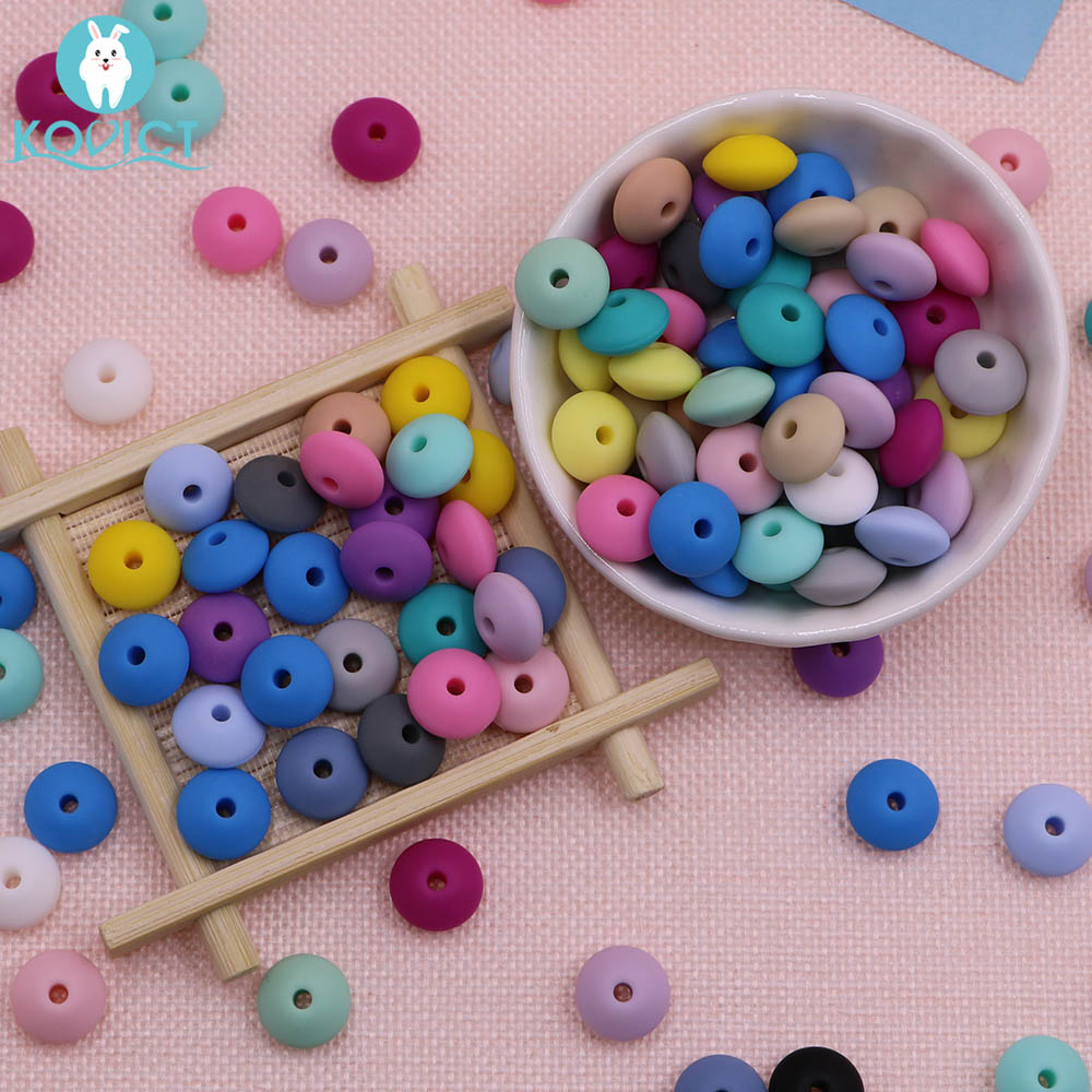 Kovict 50Pcs/lot Baby Lentils Beads Silicone Beads Abacus Lentils 12mm Baby Teether DIY Pacifier Chain Clip