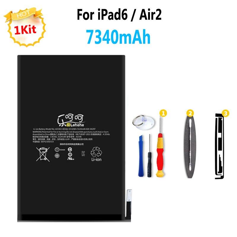 100%New 7340mAh Battery For iPad 6 Air 2 Tablet Batteries Replacement with tool kit yilizomana for ipad air 2 battery 7340mah li ion internal original replacement battery for ipad 6 air 2 a1566 a1567 with tools