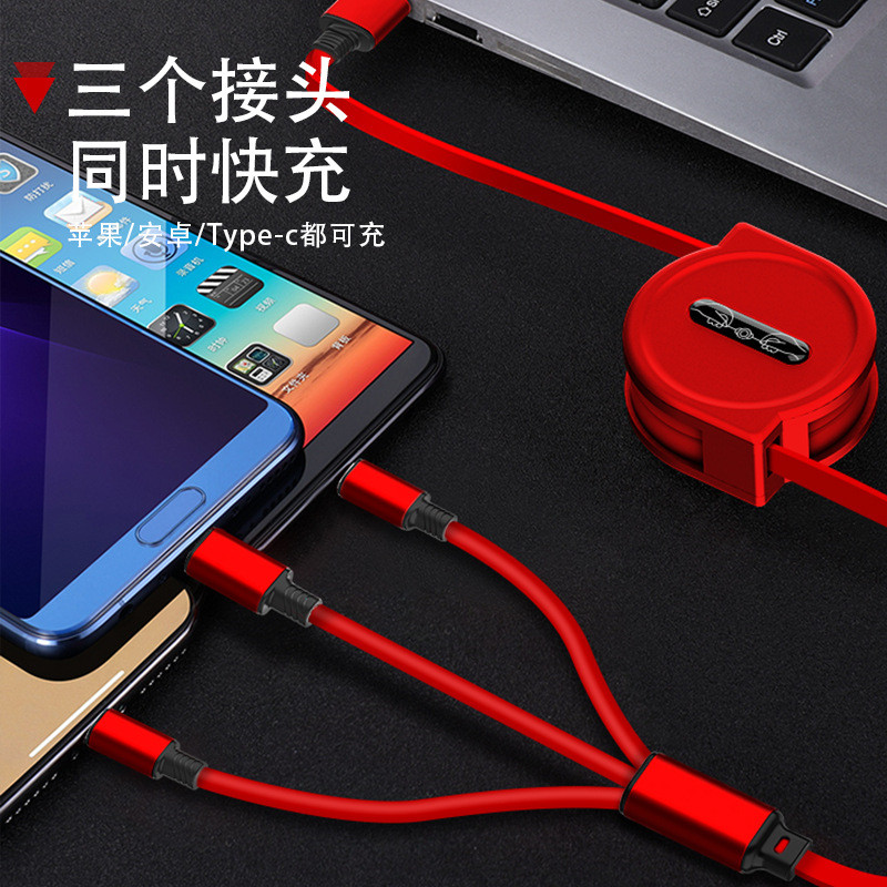 Image 5 - 120cm 3 In 1 USB Charge Cable for iPhone & Micro USB & USB C Cable Retractable Portable Charging Cable For Iphone X 8 Samsung S9-in Mobile Phone Cables from Cellphones & Telecommunications on