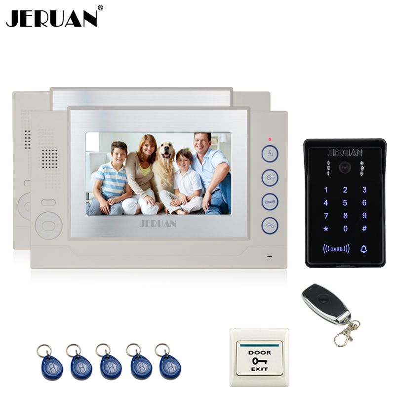 JERUAN 7`` LCD video doorphone Record intercom system 2 monitor New RFID waterproof Touch Key password keypad Camera 8G SD Card jeruan 7 lcd video door phone record intercom system 3 monitor new rfid waterproof touch key password keypad camera 8g sd card