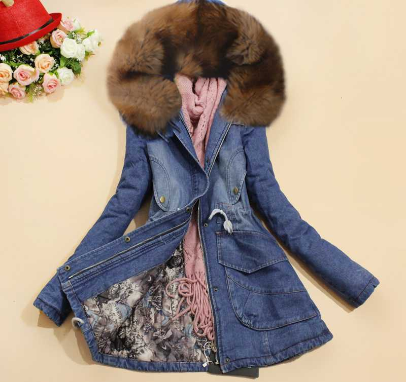 ФОТО Hot Sale 2015 Autumn Winter Thicken Wadded Jacket Europe Women Denim Big Fur Collar Cotton-Padded Jacket Ladies Warm Coats H4553