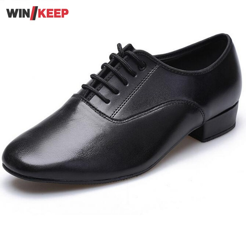 New Style Brand Low Heels Soft Sole Male New Modern Men's Ballroom Tango Latin Black Lace Up Dancing Zapatos For Mens 2017 ladies glitter rainbow colorful salsa latin shoes women tango ballroom dancing shoes high quality mesh soft sole wk024