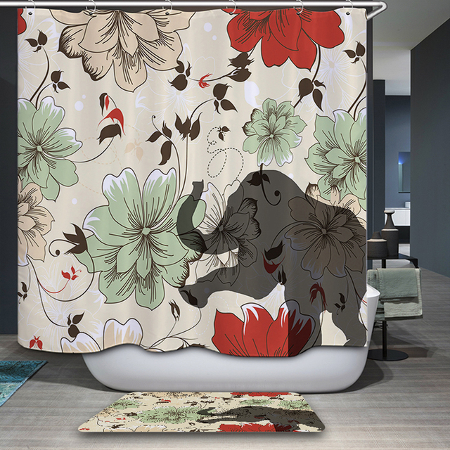Neuheiten Duschvorhang Thai Colorful Elephant Cartoon Muster Wasserdicht  Badezimmer Gewebe Hause Dekorative Duschvorhang