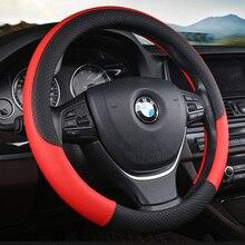 KKYSYELVA 6 Colori di Cuoio Auto Car Steering Wheel Coperture 38 cm/15 pollici Volante copertura della ruota di copertura traspirante Interni accessori