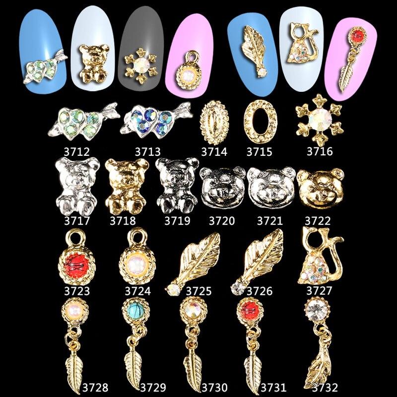 100PCS Feather Leaf Panda Charm Glitter  Rhinestone Nail Decorations 3d Alloy Jewelry Art Studs Tools *ML3712-3732