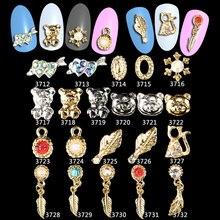 100PCS Feather Leaf Panda Charm Glitter  Rhinestone Nail Decorations 3d Alloy Nail Jewelry Nail Art Studs Tools *ML3712-3732