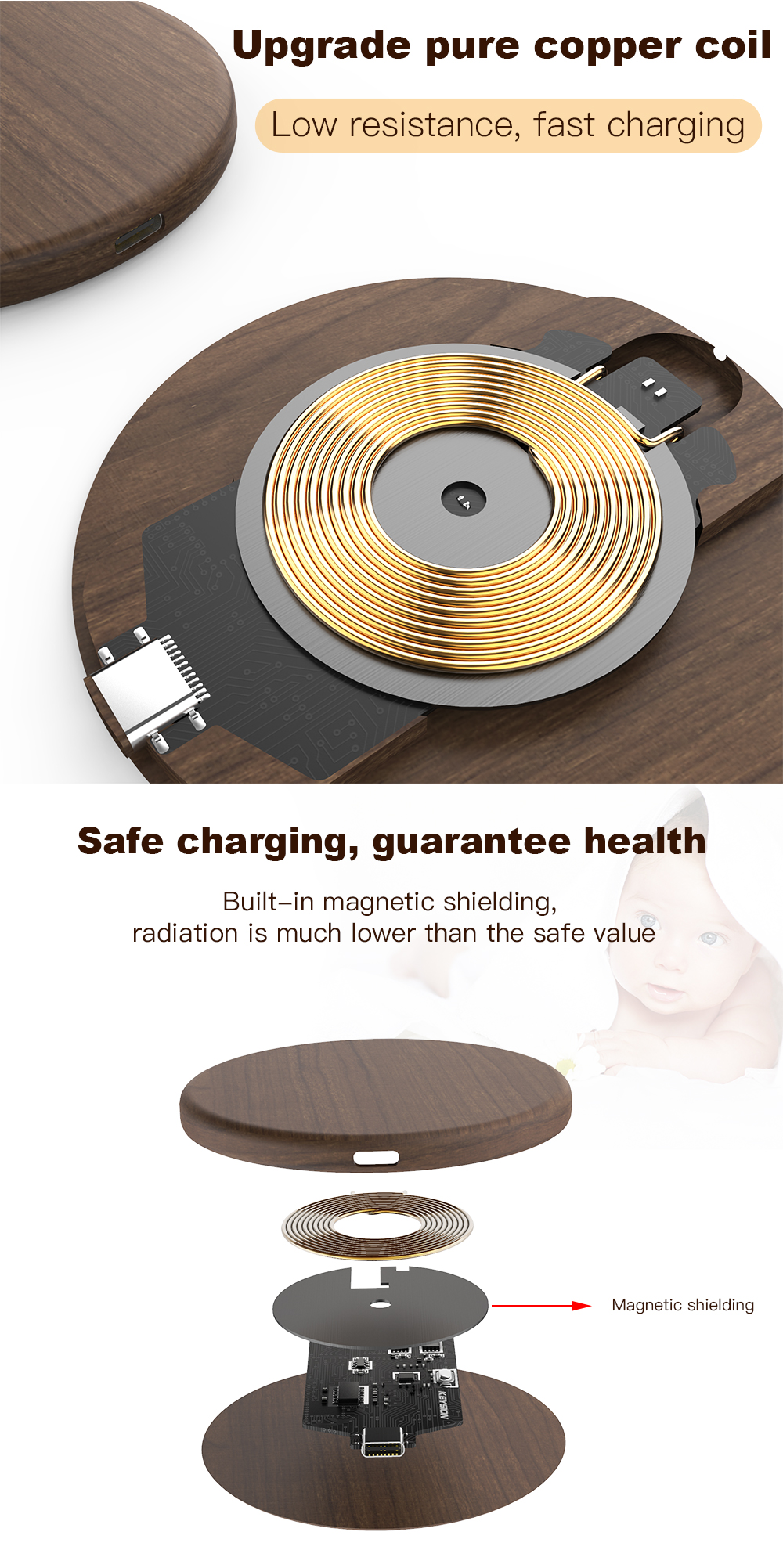 KEYSION 10W Qi Fast Wireless Charger for iPhone XS Max XR 8 Plus Wireless Charging Wood Desktop Pad for Samsung S10 Xiaomi mi 9