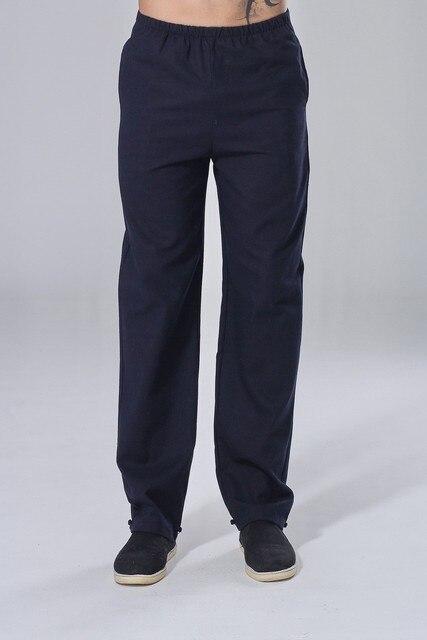 Hot Sale Navy Blue Vintage Chinese Men's Kungfu Trousers Cotton Linen Wu Shu Pants Size S M L XL XXL XXXL