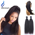 360 Lace Frontal Closure With Bundles Pre Plucked Lace Frontal Kinky Straight Weave Peruvian Virgin Hair With Frontal Closure