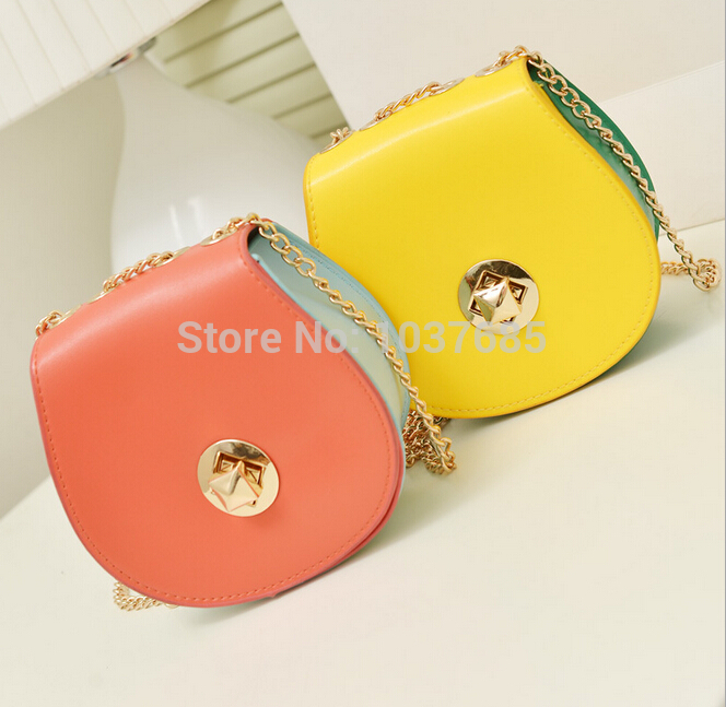 Free shipping 2017 summer sweet New Handbags High quality PU leather Women bag Hit the color chain shoulder Messenger Mini bag 2017 fashion new handbags sweet lady candy color plush small round bag high quality soft cute shoulder bag chain messenger bag