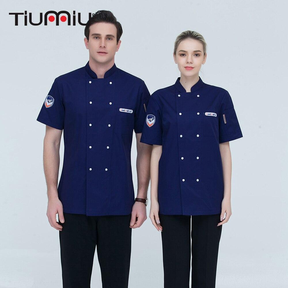 6 Colors M-4XL Wholesale Women Men Short-sleeve Double Breasted Kitchen Work Wear Chef Jacket Catering Restaurant Baking Uniform