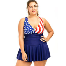 aed0acf22849 Plus Size Women Summer Sexy Swimwear American Flag Stars   Striped Print  One Piece Playsuit Female Oversize Sexy Casual Bodysuit