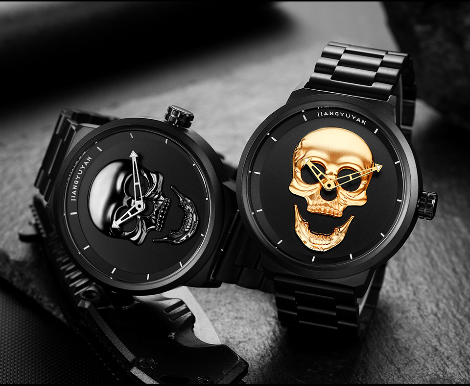 1739-960_11  2018 Scorching Pirate Punk 3D Cranium Males Watch Model Luxurious Metal Quartz Male Watches Retro Trend Gold Black Clock Relogio Masculino HTB1ztZWe4uTBuNkHFNRq6A9qpXat