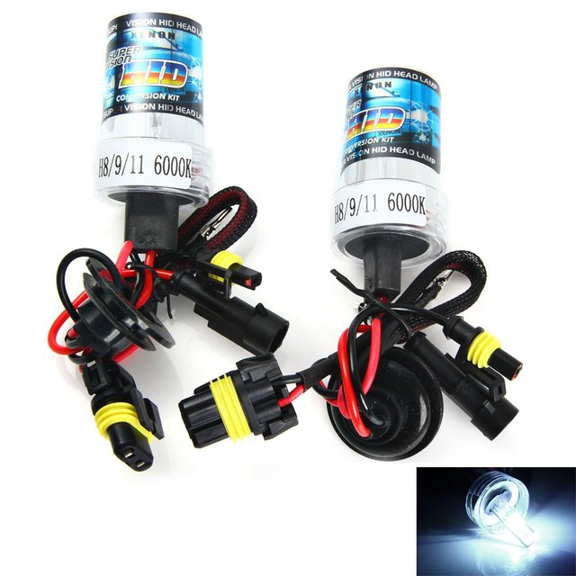 H8/9/11 35W Super Bright 6000K 3600lm White Light Auto HID Xenon Lamp Car Headlamp 2pcs Metal Holder Replacement Light Lamp Bulb