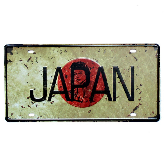 JAPAN Motorcycle Decor Plates Shabby Chic Decorative CAR License Plates Vintage Metal Tin Signs Retro Wall Stickers 30*15cm