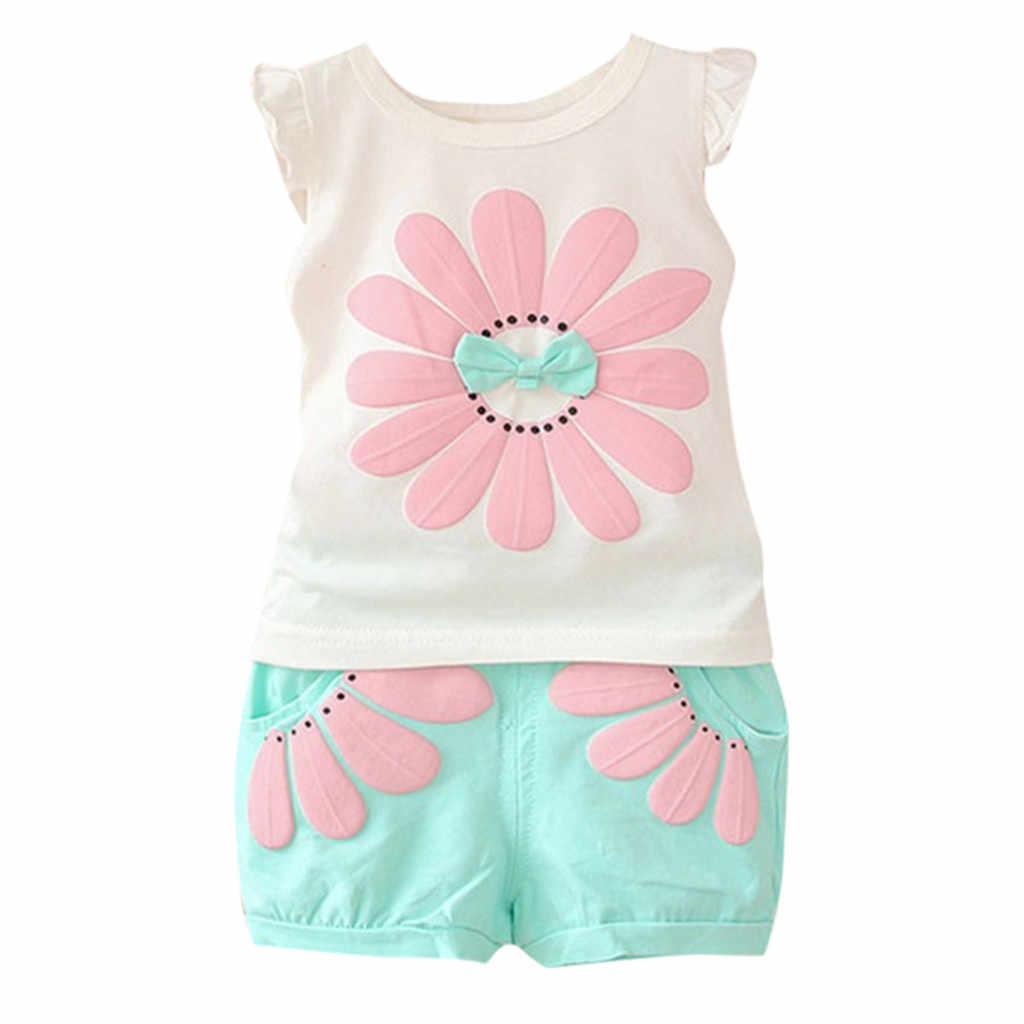 طقم ملابس صيفي للبنات لعام 2019 تي شيرت قصير مطبوع عليه زهور كارتونية للأطفال ملابس بناتي للأطفال حديثي الولادة من سن 1 إلى 3 سنوات
