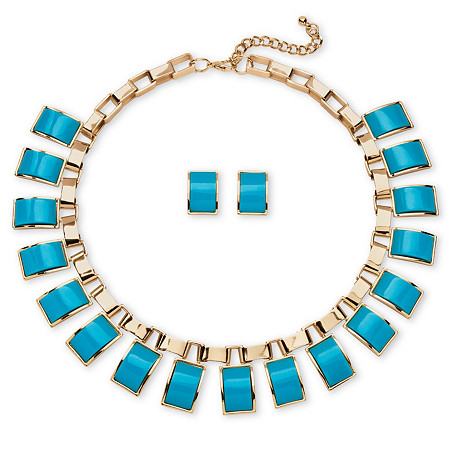 Palmbeach Jewelry 54632 2 Piece Teal Rectangle Necklace And Earrings Set In Gold-colored Tone 00 gauge acrylic teal blue marble pattern double flare tunnel 1 piece