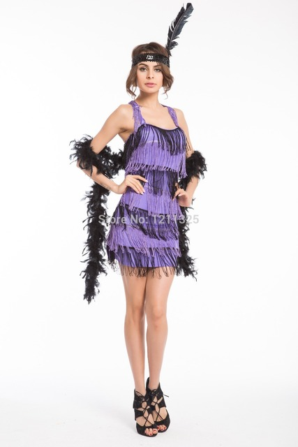 Dazzling dance dress Gold red purple red Flapper Costume with Feather fancy dress  costume party dress plus size s-3xl 0e4f93537