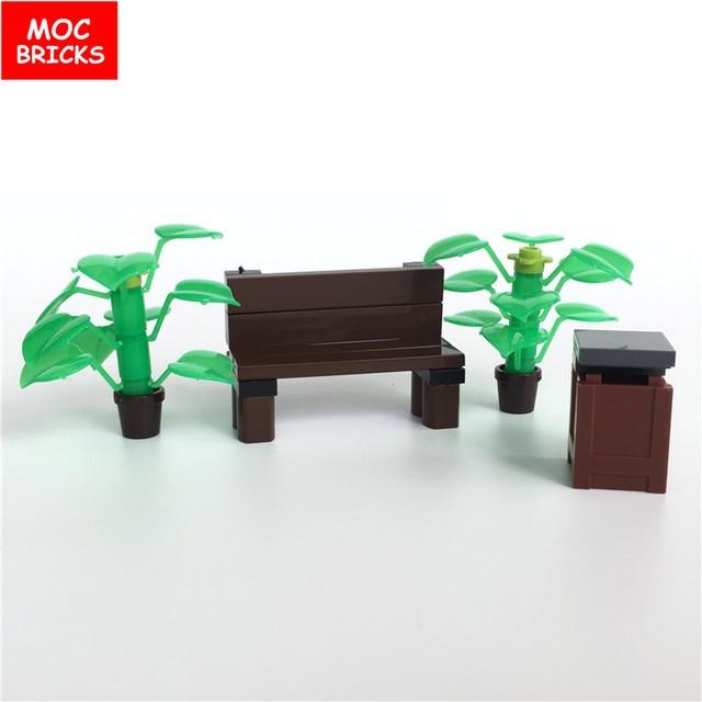 moc bricks diy park stoel plant pot prullenbak container action