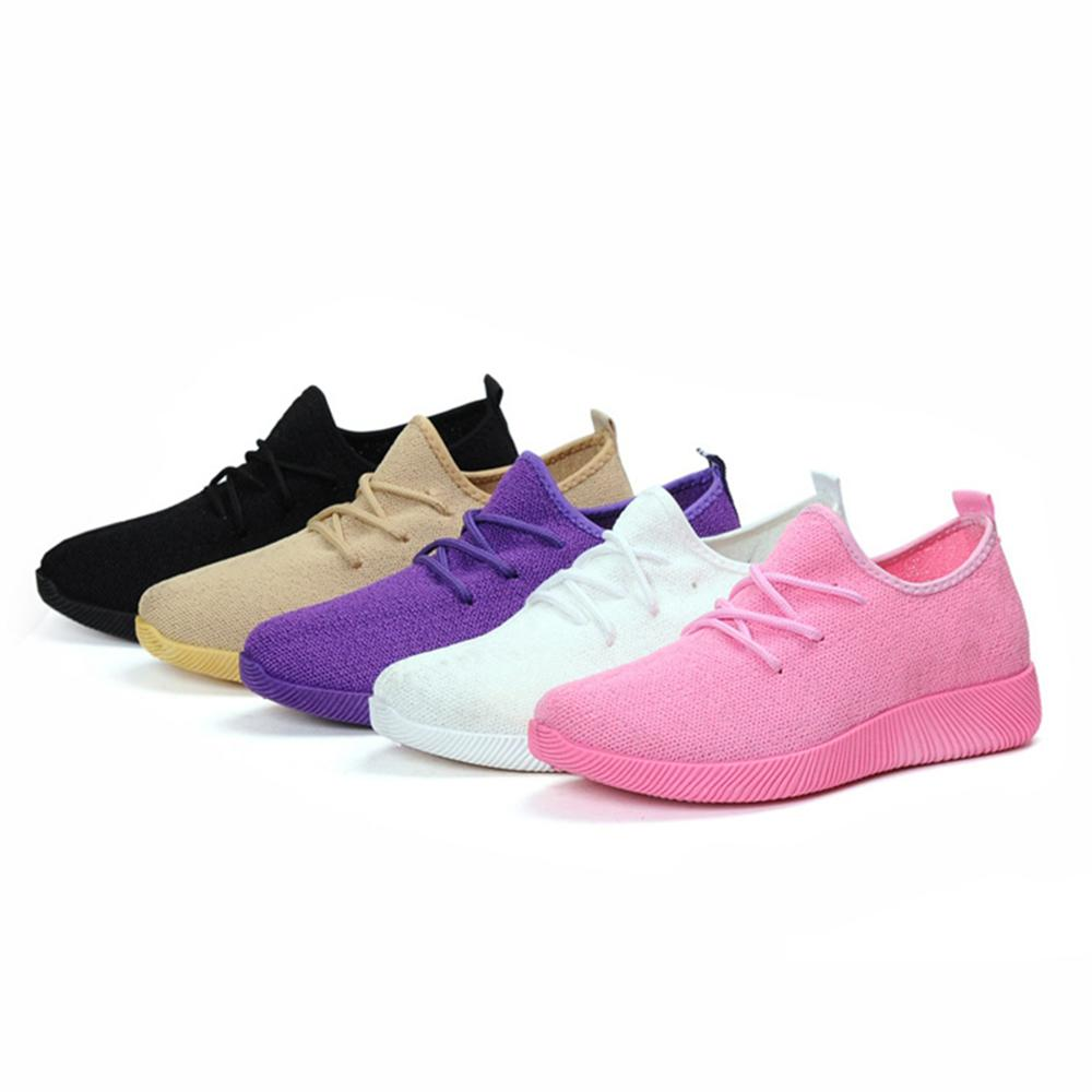 2018 Women Sneakers Light Weight Woman Casual Shoes Slip On Lazy Shoes Comfortable Candy Color Breathable Net Shoe ����������������������