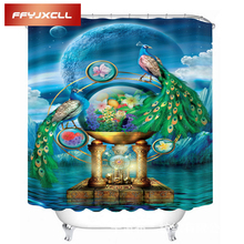 Digital Printing Beautiful Peacock Pattern Waterproof Shower Curtain  Eco-Friendly Polyester Bathroom