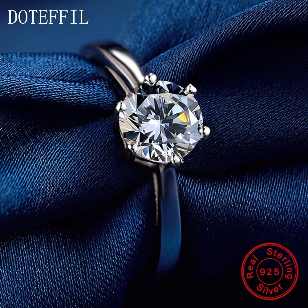 Nově příchozí 100% mincovní stříbro zirkonové prsteny dámské kouzlo stříbrné módní prsteny